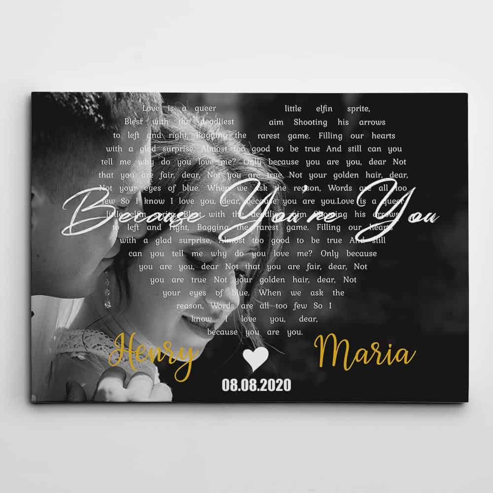 Lyrics Canvas Print - wedding gifts for son