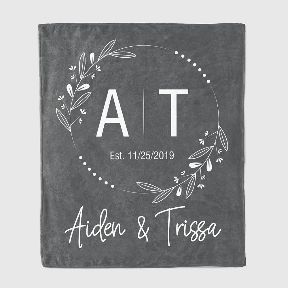 Initials Throw Blanket - wedding gifts for son
