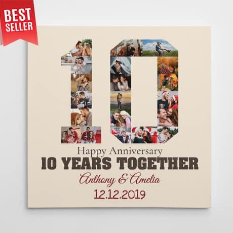 """10-Year Anniversary"" Photo Collage Canvas Print"