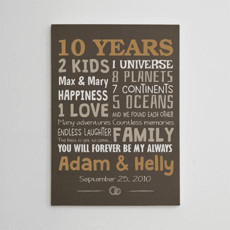 """""""10 Years"""" Custom Family Canvas Print - 10 year anniversary gift"""