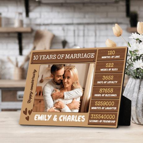 """""""10 Years of Marriage"""" Custom Photo Desktop Plaque"""