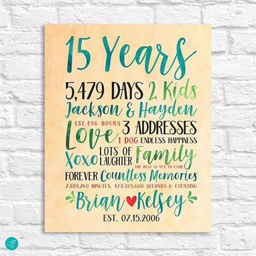 15 Year Wedding Anniversary Canvas Print