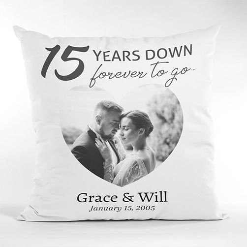fifteen years anniversary gift:15 Years Down Forever To Go Custom Photo And Name Suede Pillow