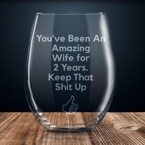 2 year anniversary gift:2 year anniversary wine glass