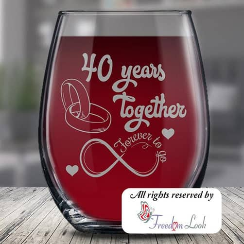 40th Anniversary Wine Glass