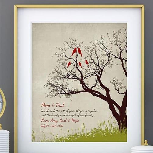 40 wedding anniversary gift: 40th RUBY Anniversary print