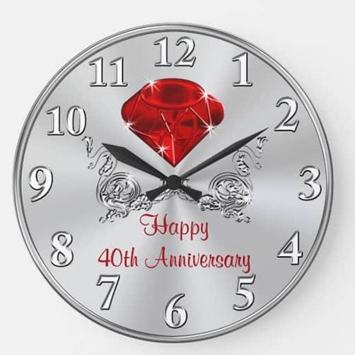 Wedding Anniversary Gifts Clock: ruby wedding anniverary