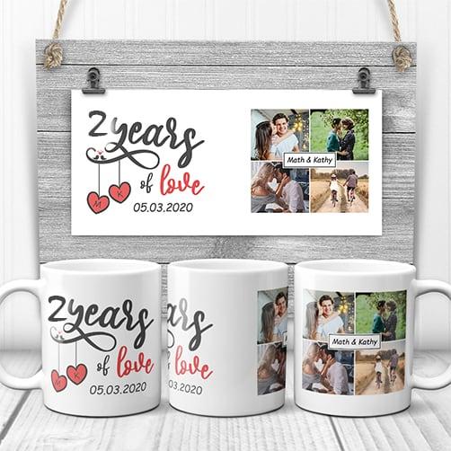 2 Years Of Love Anniversary Custom Photo Mug