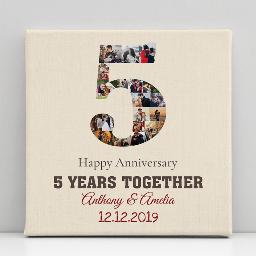 """5 Years Anniversary"" Photo Collage Canvas Print"