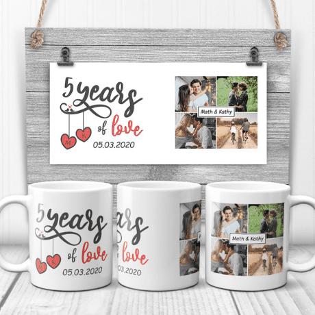 """""""5 Years of Love"""" Anniversary Custom Photo Mug"""