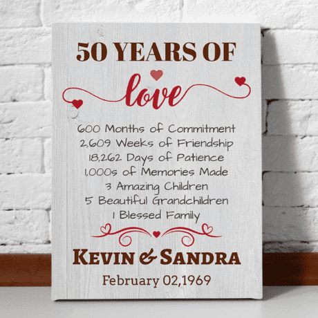 50 Years of Love – 50th Anniversary Canvas Print