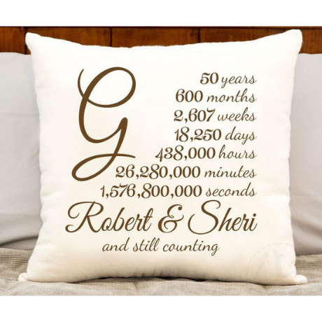 Cotton Pillow - 50th anniversary gifts