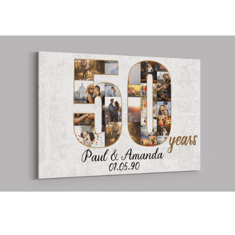 Custom Collage Photo Canvas - 50th anniversary gifts
