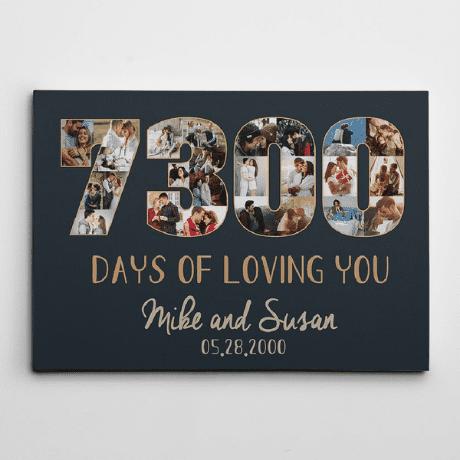 """7300 Days of Loving You"" Custom Photo Canvas – 20th Anniversary Gift"