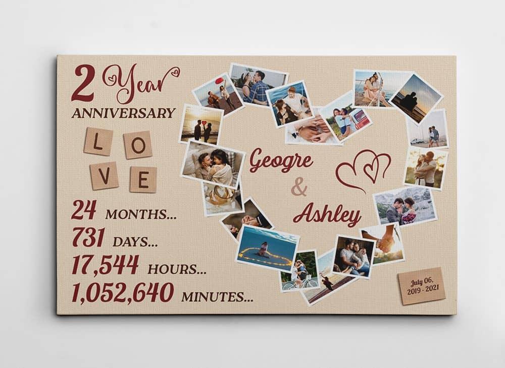 2 Years Anniversary Photo Collage Canvas Print