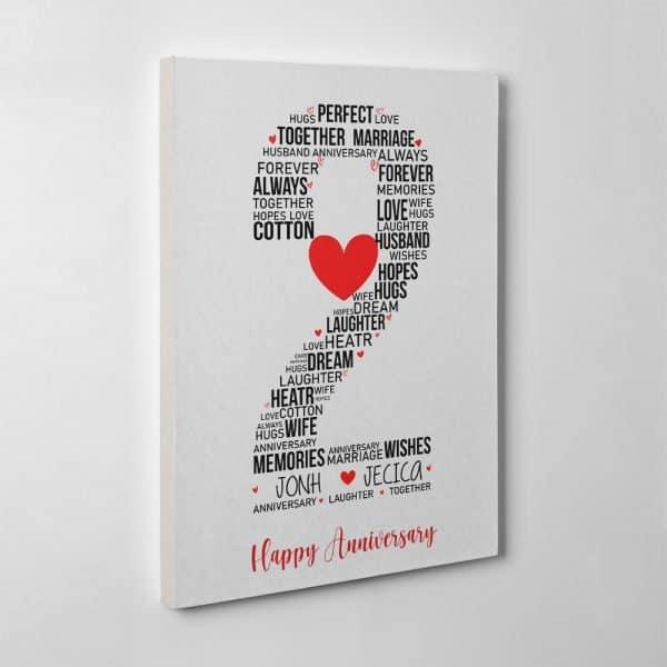 2nd Anniversary Custom Word Art Canvas Print