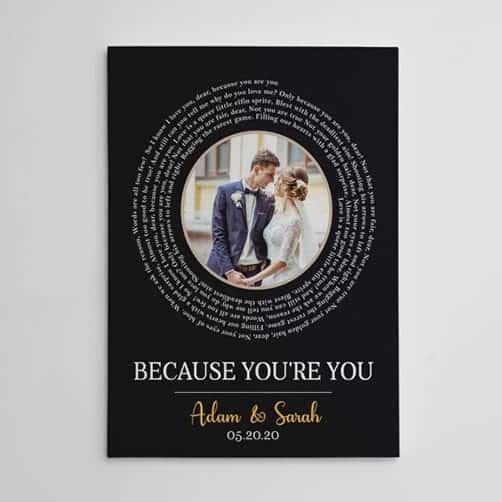 Custom Photo & Spiral Song Lyrics Canvas Print