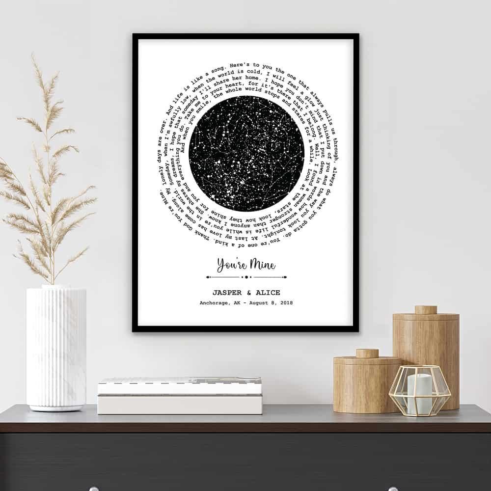 5 year anniversary gift - Custom Star Map and Spiral Song Lyrics Framed Print
