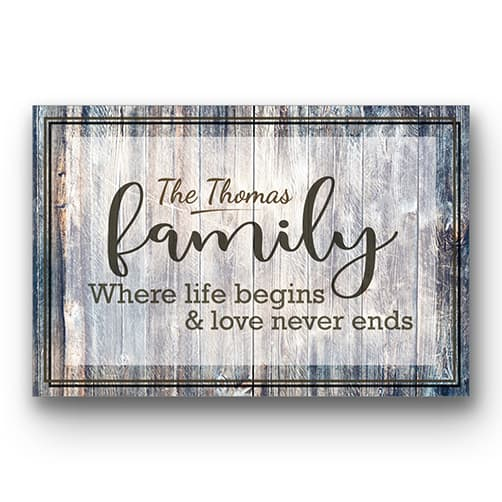 personalized wedding anniversary gift: Rustic Family Canvas