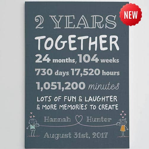 2 year wedding anniversary:Two Years Together 2nd Anniversary Custom Canvas Gift