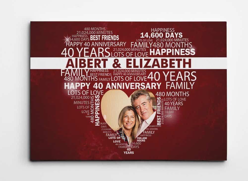 40th Wedding Anniversary Custom Word Art Canvas Print