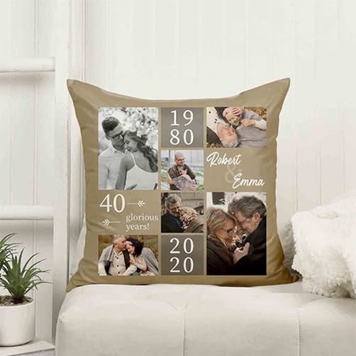 40th Anniversary Photo Collage Pillow
