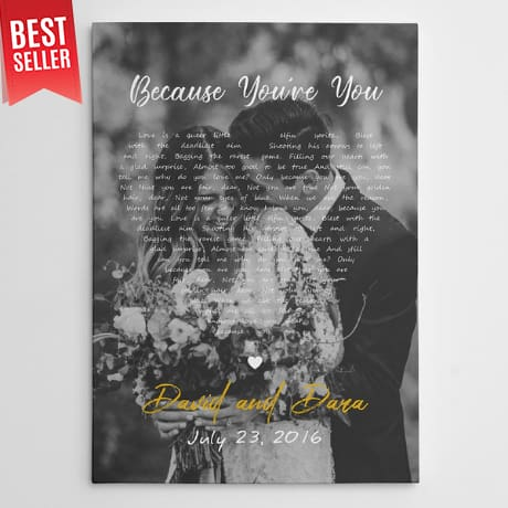 20th anniversary gifts - Black and White Song Lyrics on Photo Canvas Print – Vertical
