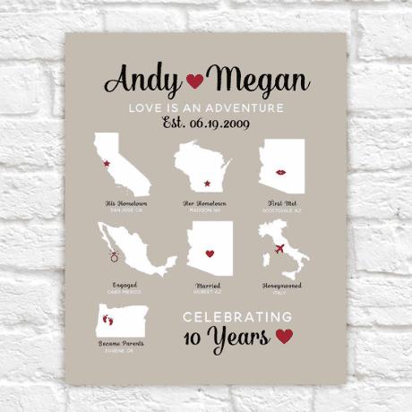 Custom Anniversary Map Infographic Style Design