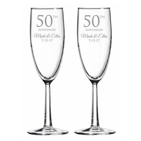 Engraved Champagne Toasting Flutes - 50th anniversary gifts