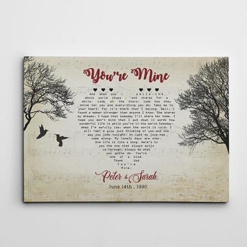 Heart-Shaped Bird Custom Song Lyrics Canvas Print