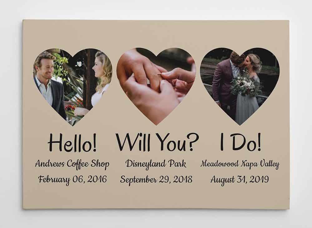 """Hello – Will You – I Do"" Photo Upload Canvas Print - 5 year anniversary gift"