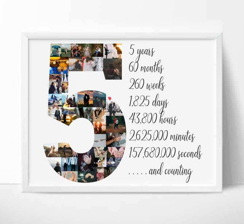 Number 5 Year Picture Collage - 5 year anniversary gift