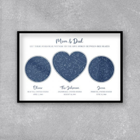 Hearts Custom Star Map Framed Print
