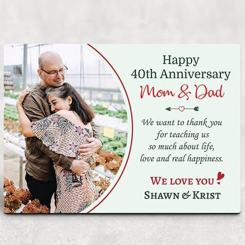 Happy 40th Anniversary Mom and Dad Desktop Plaque