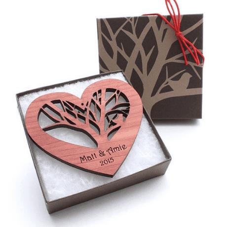 Custom Tree Heart Ornament - 5 year anniversary gift