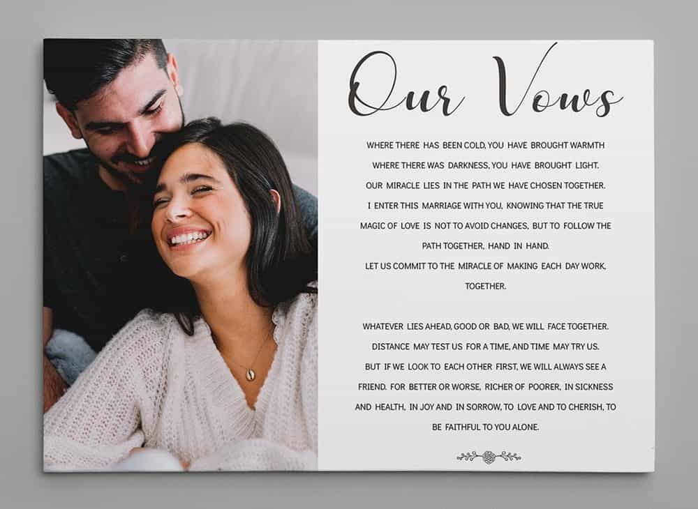 Our Vows Anniversary Wedding Custom Photo Canvas