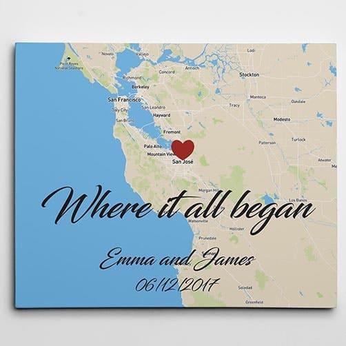 Where It All Began Horizontal Custom Map Canvas Prin