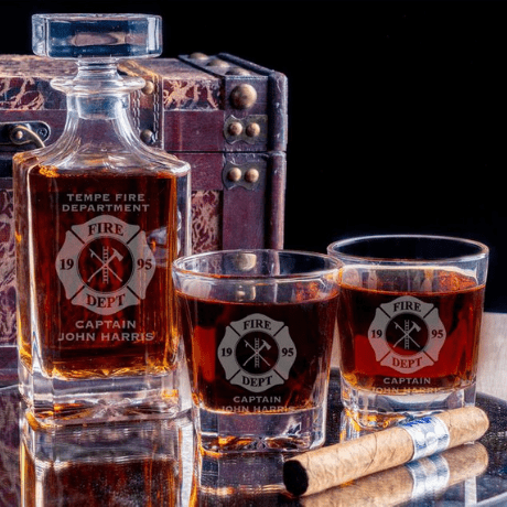 Personalized Whiskey Decanter Set - 10 year anniversary gift