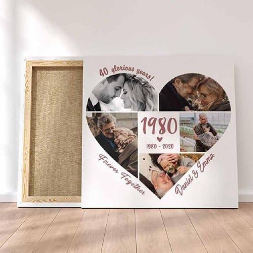40th wedding anniversary:Custom Anniversary Year Photo Collage Canvas