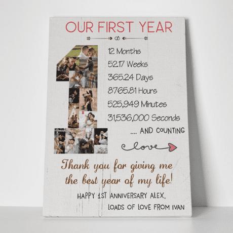 1 Year Anniversary Photo Collage Canvas Print