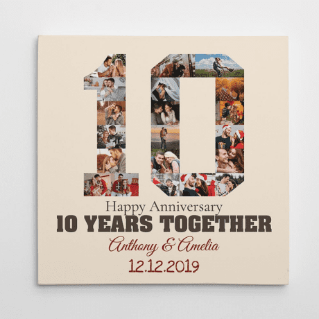 10 Year Anniversary Photo Collage Canvas Print - anniversary gifts by year