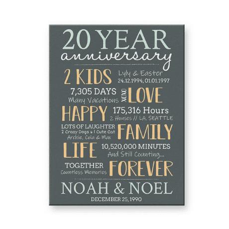 20 Year Anniversary Custom Canvas Print
