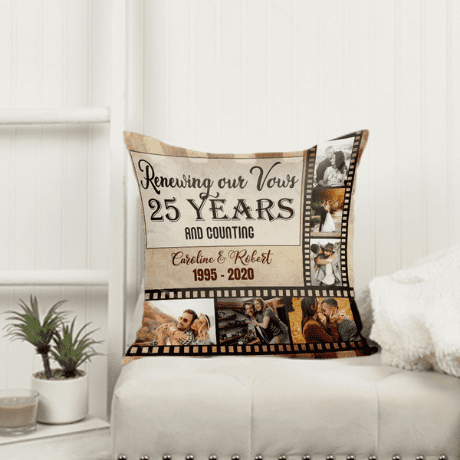 25 Years and Counting Photo Collage Pillow