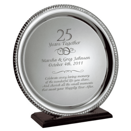 Engraved Anniversary Silver Plate