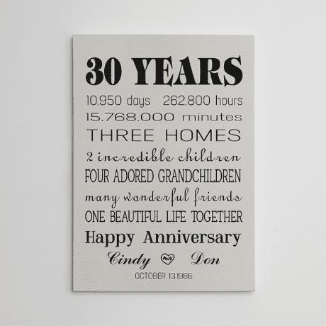 30 Years Anniversary Custom Canvas Print
