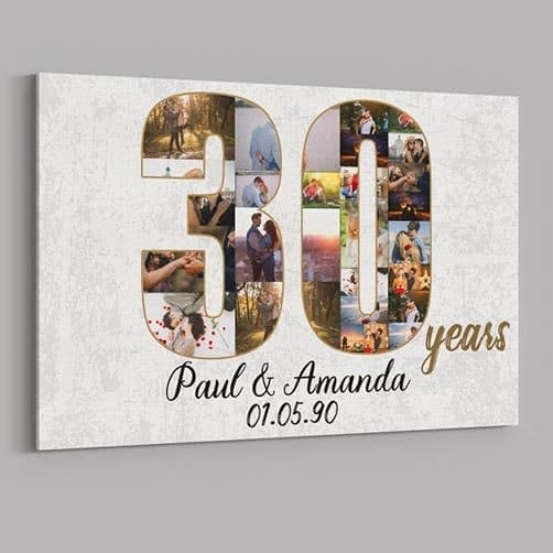 30 Years Anniversary Custom Canvas Print: Happy 30th Anniversary Mom and Dad Desktop Plaque: 30th Anniversary Gifts Custom Collage Photo Canvas
