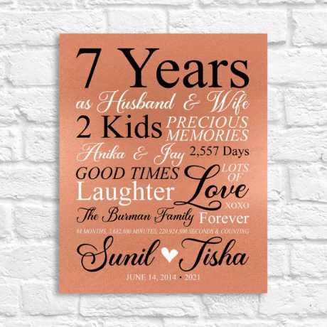 7 Year Anniversary Art Personalized Sign