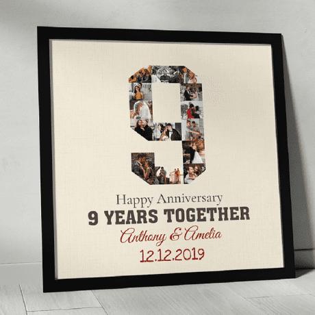 9th Anniversary Photo Collage Custom Canvas Print