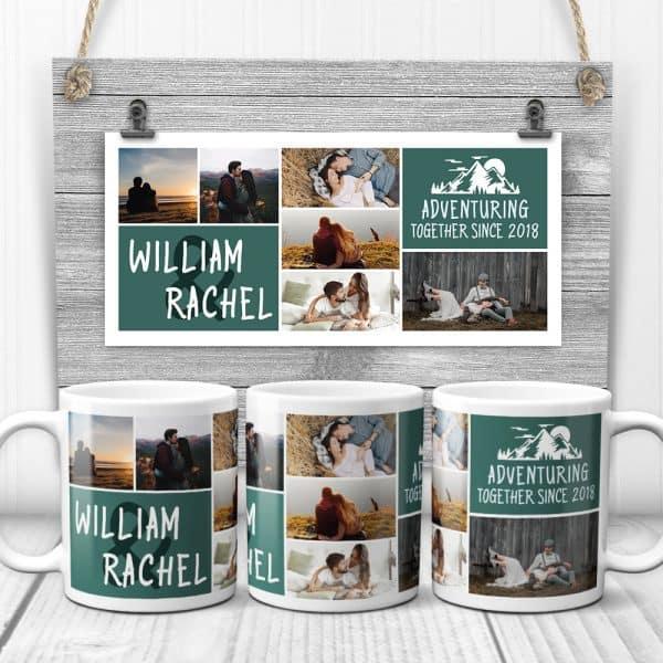 Adventuring Together Since Custom Photo Collage Mug