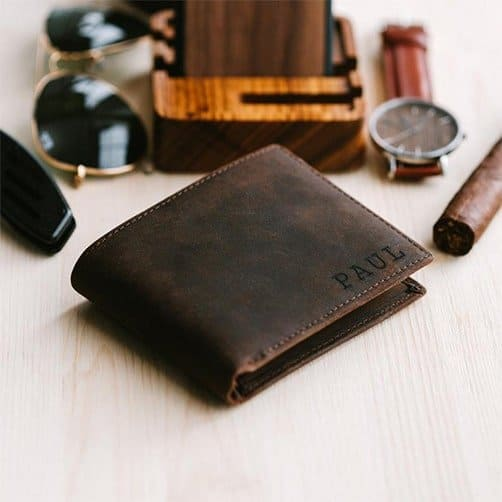 anniversary gift ideas for him: Engraved Wallet